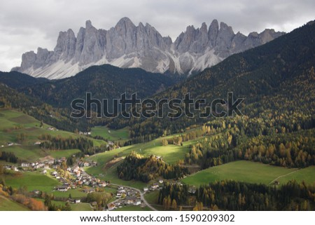 Scenic view of Villnoss Valley and Geislergruppe, Dolomite Alps, South Tyrol, Italy #1590209302