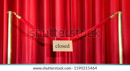Stage curtain and velvet rope with closed sign #1590215464