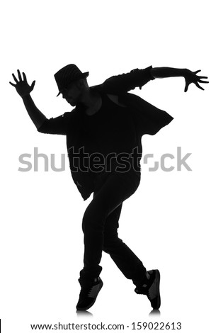 silhouette of male dancer isolated on white #159022613