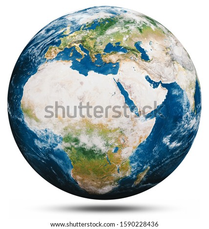 Planet Earth globe isolated. Elements of this image furnished by NASA. 3d rendering #1590228436