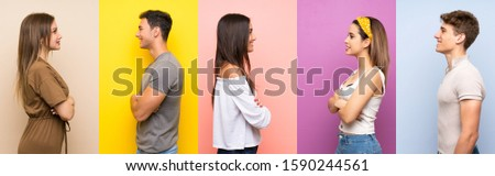 Set of people over colorful background in lateral position #1590244561