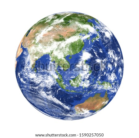 Planet Earth Asia View Isolated (Elements of this image furnished by NASA). 3D rendering #1590257050