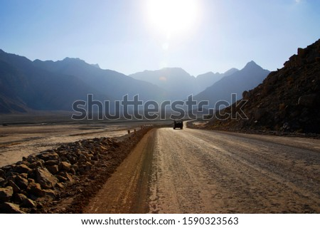 Truck on remote dirt road, near Khasab, Musandam peninsula, exclave of Oman #1590323563