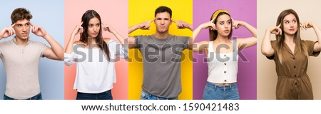 Set of people over colorful background having doubts and thinking #1590421483