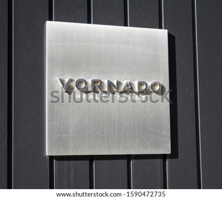 New York, New York, USA - December 15, 2019: A Vornado Realty Trust sign on Park Avenue #1590472735