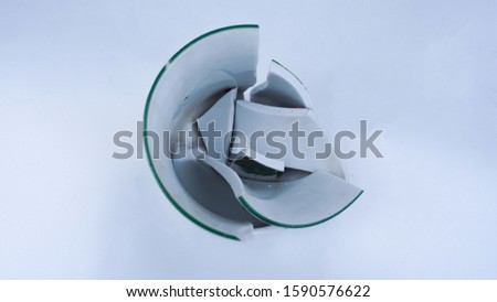 The Broken Ceramics Cup Top Angle Wide Angle Isolated White Background #1590576622