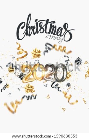 Merry Christmas text on a white background. Black-gold design. Calligraphy lettering card design template. Holiday greeting gift poster. 3D illustration, 3D render. #1590630553