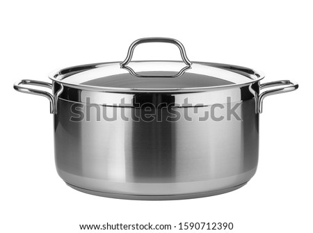Stainless steel pot isolated on white background #1590712390