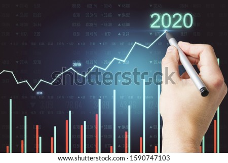 Hand drawing glowing infograph of success in 2020 hologram. Trade and analysis concept. #1590747103