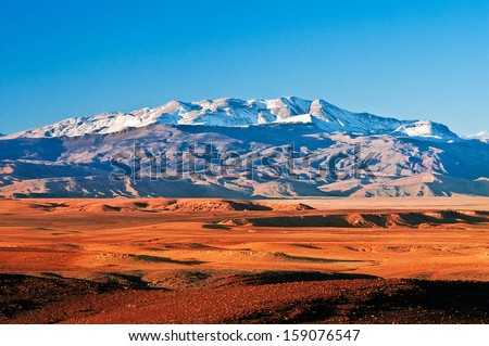 Mountain landscape in the north of Africa, Morocco Royalty-Free Stock Photo #159076547
