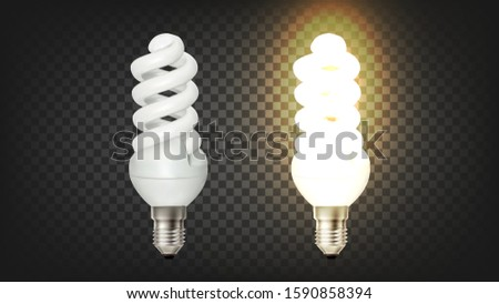Glowing Spiral Compact Fluorescent Lamp Cfl Vector. Modern Economical Lamp Office Or Room Light Equipment Temporary Background. Type Of Lighting Device Layout Realistic 3d Illustration #1590858394