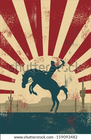 Grunge background, cowboy riding wild horse, vector