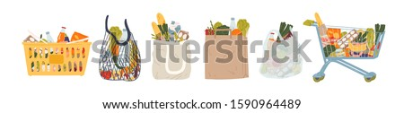 Shopping bags and baskets flat vector illustrations set. Grocery purchases, paper and plastic packages, turtle bags with products. Natural food, organic fruits and vegetable. Department store goods. #1590964489