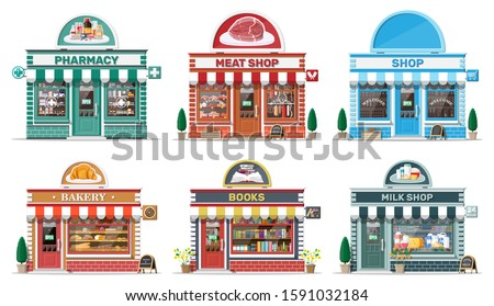 Set of detailed city shop buildings. Bakery, book, milk, meat, pharmacy, grocery store. Small european style shop exterior. Commercial, property, market or supermarket. Flat vector illustration Royalty-Free Stock Photo #1591032184