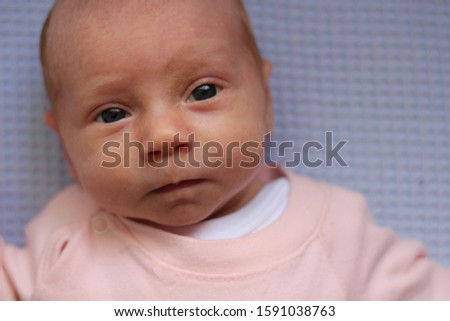 Little baby girl lies on the blanket and looks uo to camera and she poses in different poses #1591038763