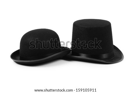 Black tophat top hat isolated on the white #159105911