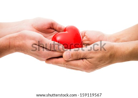 Red heart at the human hands isolated on white #159119567
