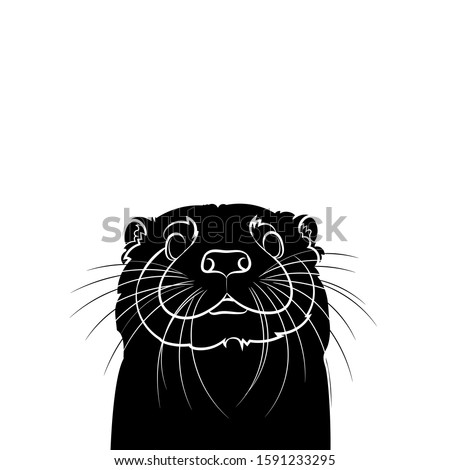 Silhouette of a cute otter (head). Graphic drawing. Vector illustration.