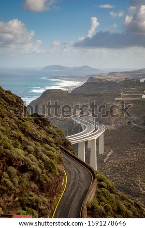 Gran Canaria coast near Agaete in Canary Islands. Royalty-Free Stock Photo #1591278646