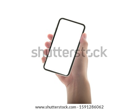 close up hand hold phone isolated on white, mock-up smartphone white color blank screen #1591286062