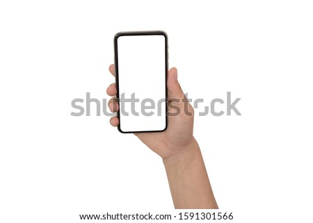 close up hand hold phone isolated on white, mock-up smartphone white color blank screen #1591301566