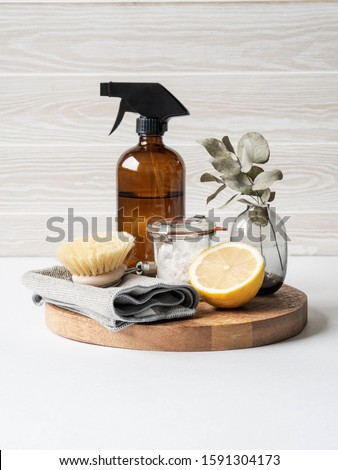 Zero waste home cleaning concept. Various items and ingredients for eco home cleaning  Royalty-Free Stock Photo #1591304173