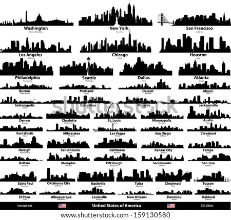 United States of America cities skylines vector set Royalty-Free Stock Photo #159130580