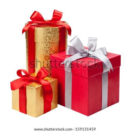 Gift boxes on white background Royalty-Free Stock Photo #159131459