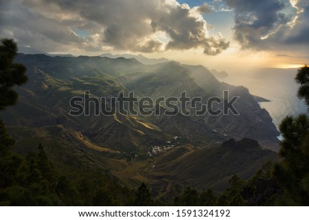 Gran Canaria coast near Agaete in Canary Islands. Royalty-Free Stock Photo #1591324192