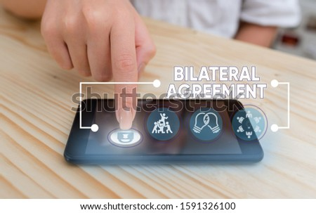 Word writing text Bilateral Agreement. Business concept for Legal obligations to nonbinding agreements of principle. #1591326100