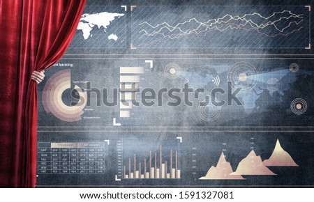 Hand opening red curtain and drawing business graphs and diagrams behind it #1591327081