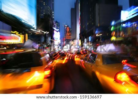 Illumination and night lights of New York City. Intentional motion blur