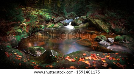 Waterfall on White Smeda, waterfall on Bila Smeda in Jizera Mountains Czech Republic, the best photo, autumn, leaves, colors.