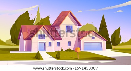 Suburban house, residential cottage, real estate countryside building exterior. Two storey dwelling place with garage. Home facade with garden and green lawn in front yard. Cartoon vector illustration Royalty-Free Stock Photo #1591453309