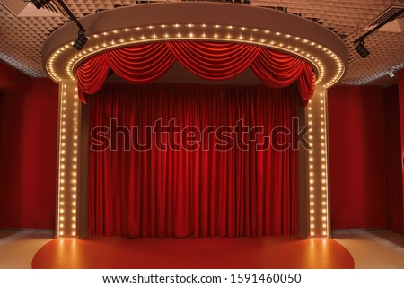 Beautiful interior for birthday parties. Red Stage Theater. Theater stage #1591460050