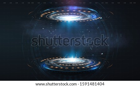 Futuristic circle vector HUD, GUI, UI interface screen design. Abstract style on blue background. Abstract vector background. Abstract technology communication design innovation concept background. #1591481404