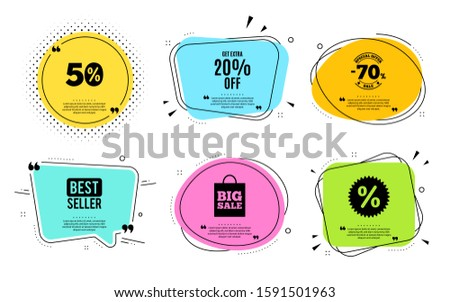 Get Extra 20% off Sale. Best seller, quote text. Discount offer price sign. Special offer symbol. Save 20 percentages. Quotation bubble. Banner badge, texting quote boxes. Extra discount text. Vector #1591501963