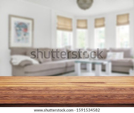Table Top And Blur Living Room Of The Background #1591534582
