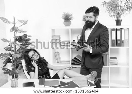 Effective management. Lady boss and office manager. Business communication. Business partners in manager office. Ceo and sexy secretary wear manager outfit. Manager and subordinate. #1591562404