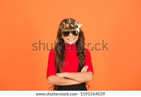Confident big boss. Small girl keep arms crossed with confidence. Little child with confident look. Confident kid wear prop crown and glasses. School prom. Beauty queen. Confident and proud. #1591564039