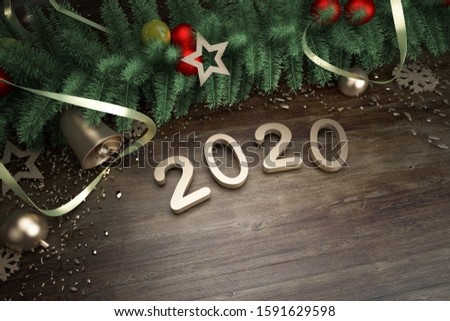 Happy New Year 2020. Symbol from number 2020 on wooden background, 3d render #1591629598