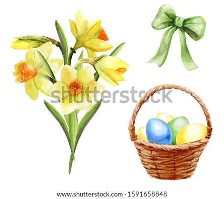 Happy Easter. Set of watercolor elements to create Easter design. A bouquet of daffodils flowers, a basket with painted eggs, a bow. Bright colorful pictures on white background.
