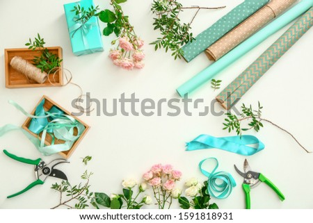 Workplace of professional florist on white background #1591818931