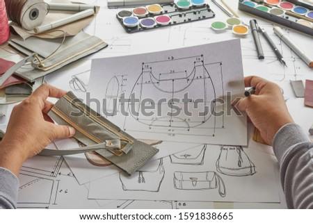 Designer stylish sketch Drawn design template pattern made leather clutch bag handbag purse Woman female Fashionable Fashion Luxury Elegant accessory.                                #1591838665