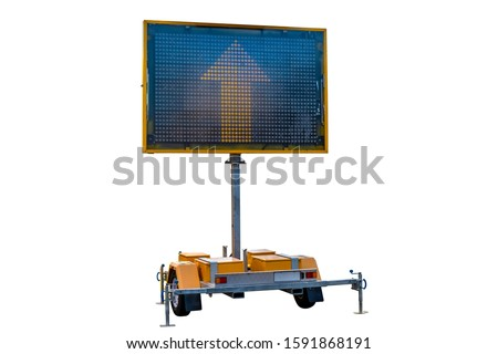 Mobile road sign displaying yellow arrow isolated on white background