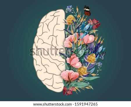Human Brain with Flowers, Mental Health Awareness, Mental Health Awareness Month, Mental Health