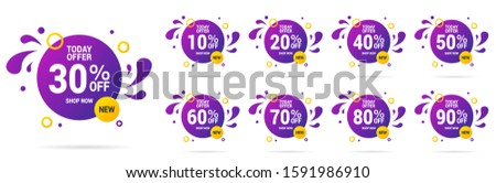 Sale tags set vector badges template, up to 10, 20, 90, 80, 30, 40, 50, 60, 70 percent off, vector illustracion. #1591986910