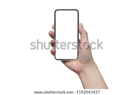 close up hand hold phone isolated on white, mock-up smartphone white color blank screen #1592043427