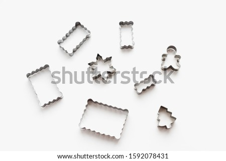 metal cookie cutters, cookie cutters on a white background, themed cookies, cookies for the new year #1592078431