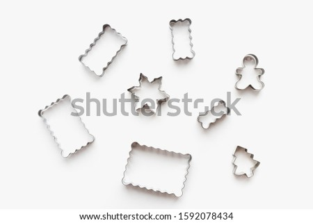 metal cookie cutters, cookie cutters on a white background, themed cookies, cookies for the new year #1592078434